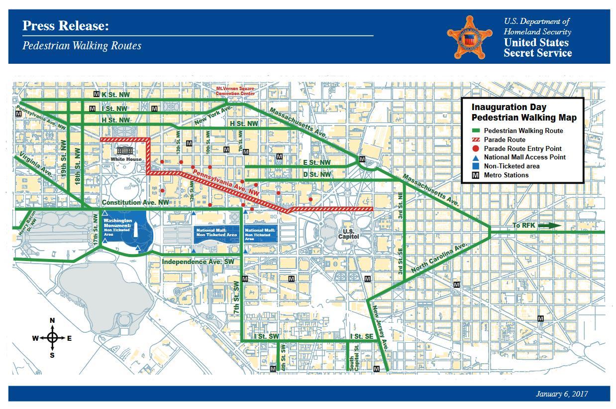 Dc Straßensperrungen map - Karte von dc Straßensperrungen (District on