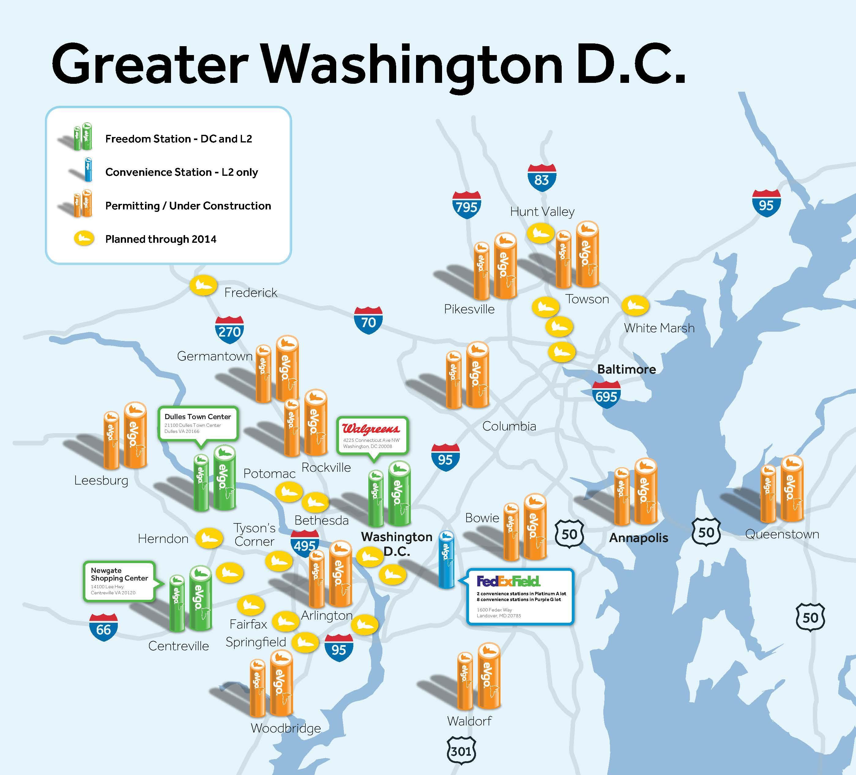 Karte von greater washington dc area - Karte der größeren ...