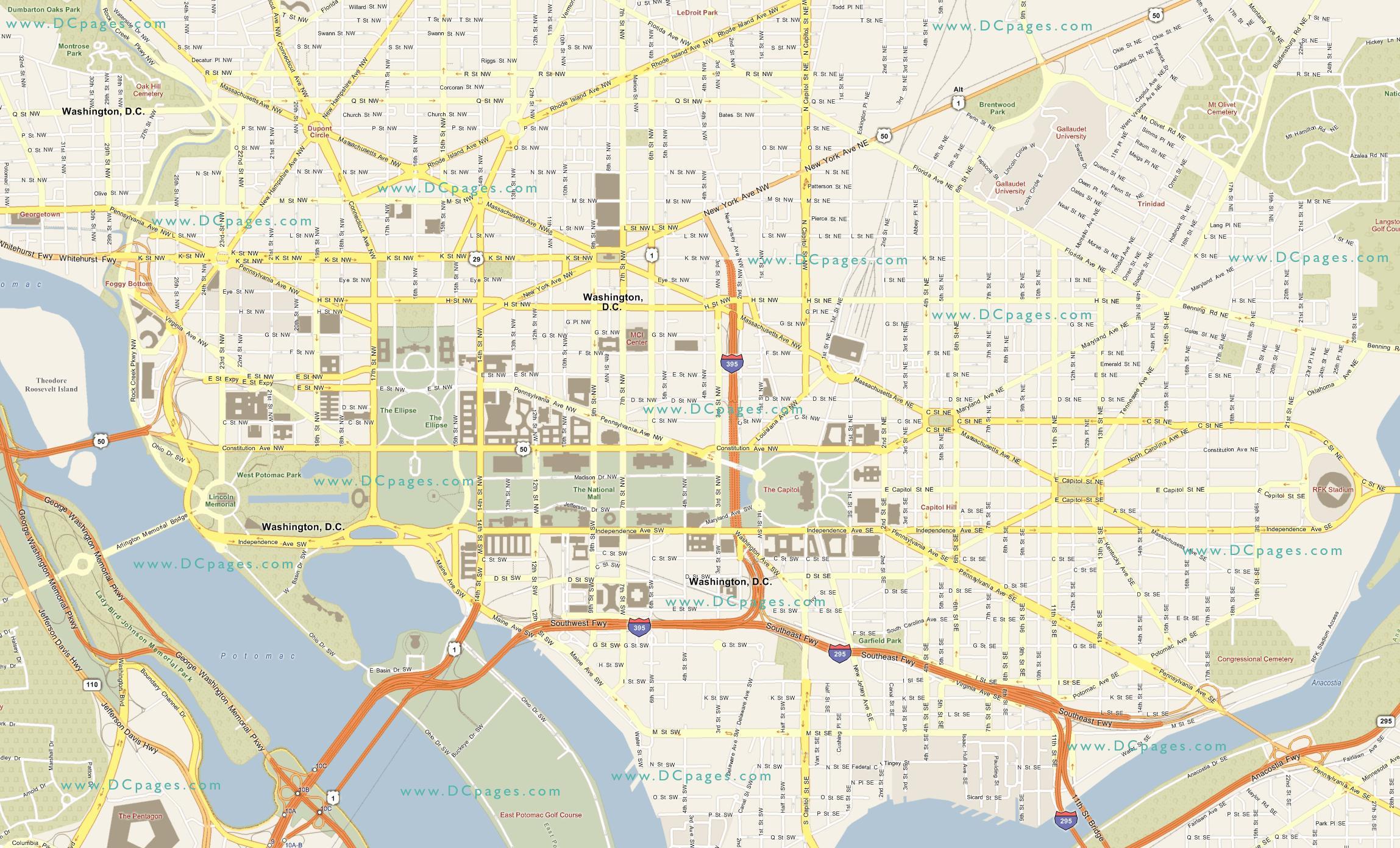 Straßenkarte von washington dc - Dc street map (District of ...