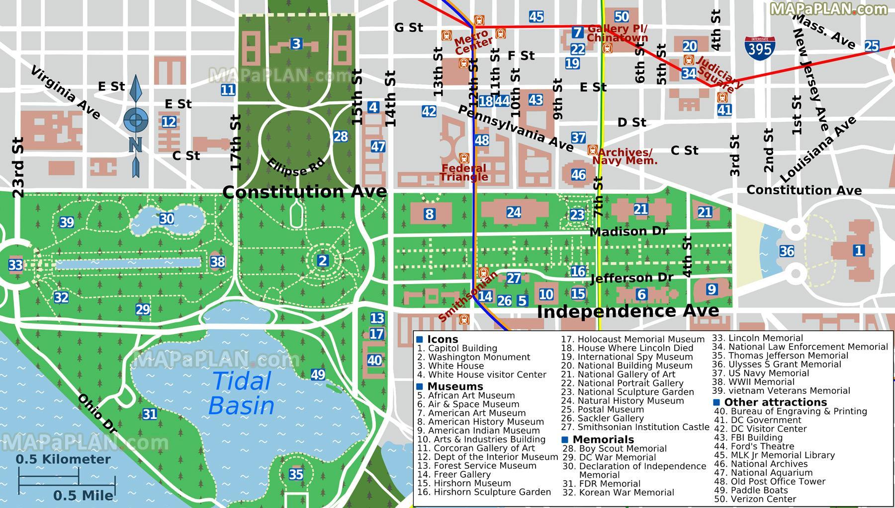 Washington dc-shopping-mall-map - Karte von washington dc ...