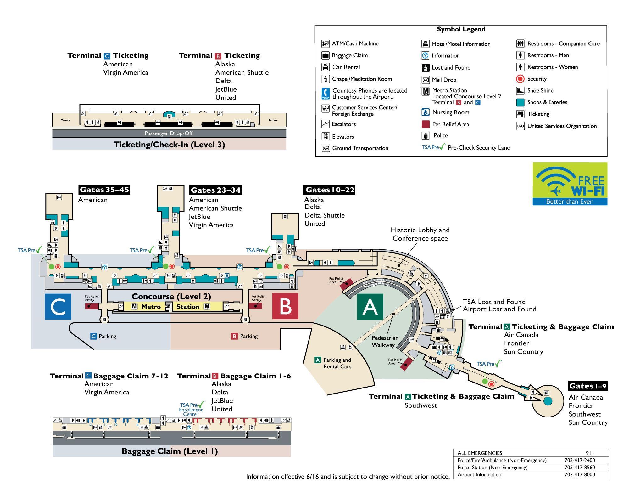Washington reagan airport Karte - Washington dc-Ronald ...