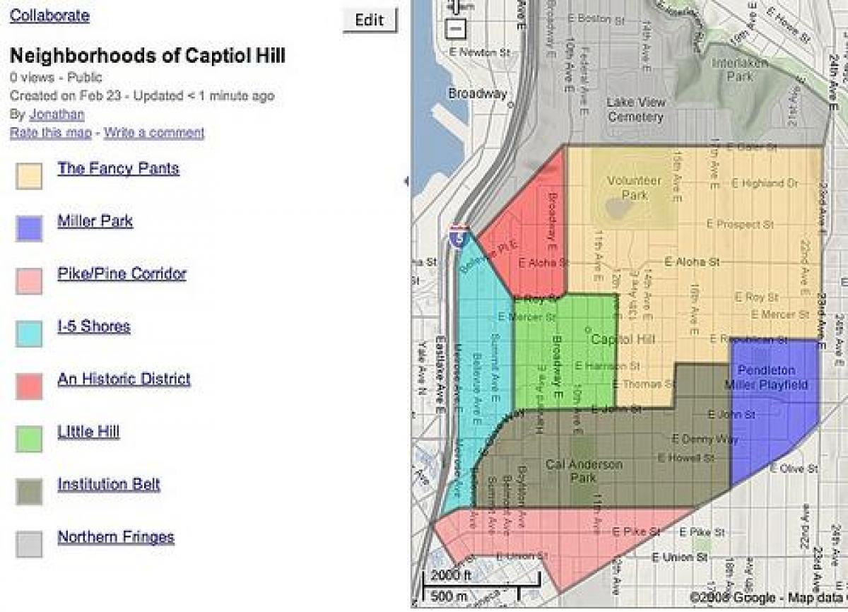 Capitol hill Nachbarschaft Landkarte - Map of capitol hill (District on