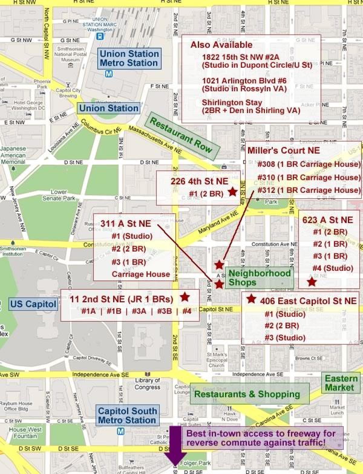 Karte von capitol hill dc - Karte des capitol hill in washington dc on