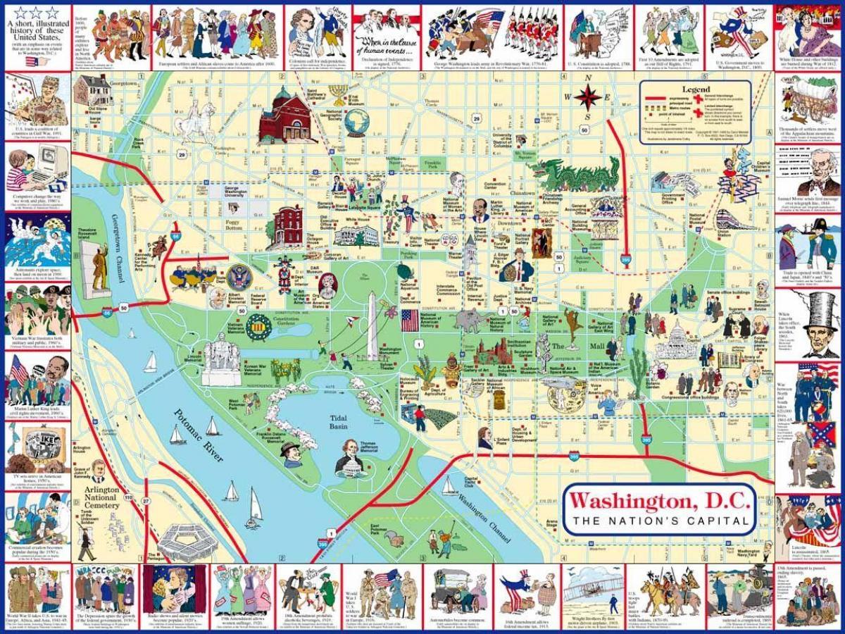 Karte von washington dc-Sehenswürdigkeiten - Karte dc ...