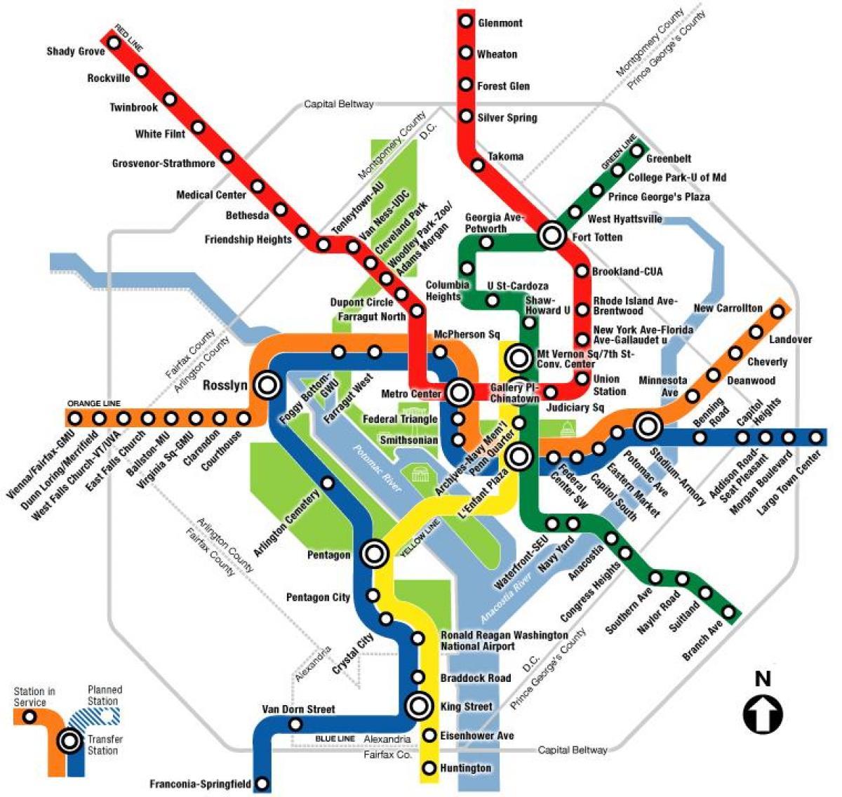 Washington dc metro map - Wa dc metro map (District of ...